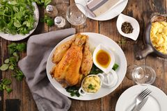 Roasted chicken. With mashed potato stock photos
