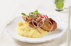 Roasted chicken and mashed potato Stock Images