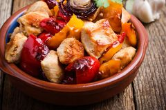 Roasted chicken meat with vegetables stock photo