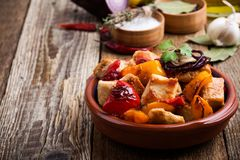 Roasted chicken meat with vegetables royalty free stock image