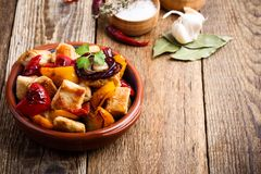Roasted chicken meat with vegetables stock images