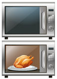 Roasted chicken in microwave oven Royalty Free Stock Images