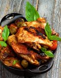 Roasted Chicken with Olives Royalty Free Stock Photos