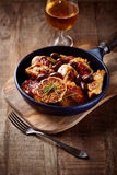 Roasted Chicken with Olives in a Pan Royalty Free Stock Photos