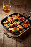 Roasted Chicken with Olives in a Pan Royalty Free Stock Photography