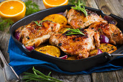 Roasted chicken with oranges Stock Photography