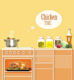 Roasted chicken in an oven. kitchen interior background Royalty Free Stock Photo
