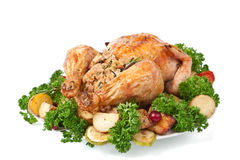 Roasted Chicken with Parsley and Vegetables Stock Photo