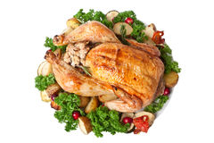 Roasted Chicken with Parsley and Vegetables Royalty Free Stock Photos
