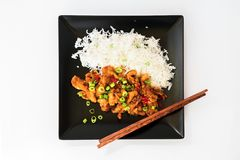 Roasted chicken piece with rice and chopstick Royalty Free Stock Image