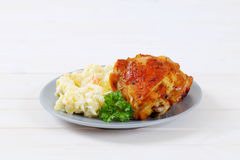 Roasted chicken with potato salad Stock Image