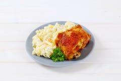 Roasted chicken with potato salad Stock Photo