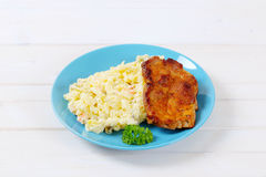 Roasted chicken with potato salad Royalty Free Stock Image