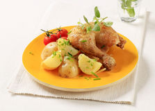 Roasted chicken and potatoes Stock Photography