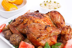 Roasted chicken with potatoes Royalty Free Stock Photos