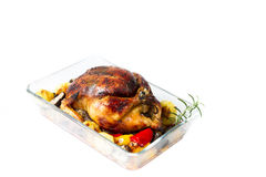 Roasted Chicken Christmas eve Stock Images