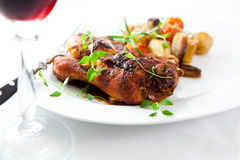 Roasted chicken and red wine Royalty Free Stock Photos