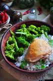 Roasted chicken with rice and broccoli, rustic style Royalty Free Stock Photography