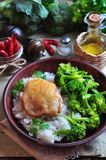 Roasted chicken with rice and broccoli, rustic style Stock Photography