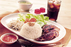 Roasted Chicken Rice set Stock Photography