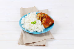 Roasted chicken with rice Royalty Free Stock Photos
