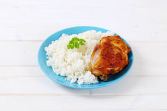 Roasted chicken with rice Stock Image