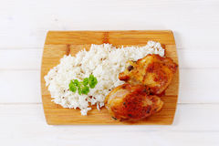Roasted chicken with rice Stock Images