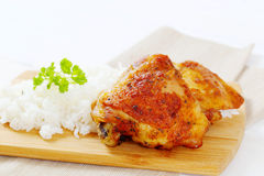 Roasted chicken with rice Stock Photo