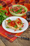 Roasted chicken. With salad and chili Royalty Free Stock Photography
