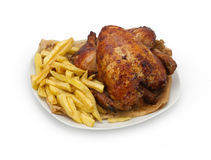 Roasted Chicken seasoned with fries Stock Photos