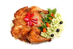 Roasted chicken seasoned with vegetables Royalty Free Stock Photo