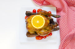 Roasted chicken with sliced orange and cherry tomatoes Royalty Free Stock Photos