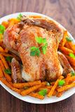 Roasted chicken and spicy pumpkin Royalty Free Stock Images