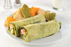 Roasted chicken spring rolls with a glass of milk Royalty Free Stock Photography