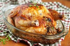 Roasted chicken stuffed with buckwheat Royalty Free Stock Photography