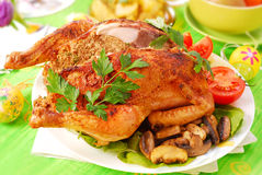 Roasted chicken stuffed with liver Royalty Free Stock Images