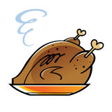 Roasted chicken or turkey. On a golden plate Royalty Free Stock Photography
