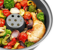 Roasted chicken with vegetables. Tasty roasted chicken with vegetables Stock Image