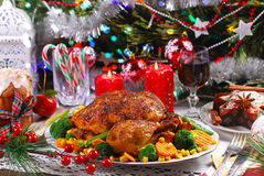 Roasted chicken with vegetables for christmas Stock Image