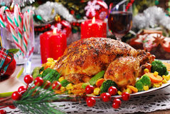 Roasted chicken with vegetables for christmas Stock Photo