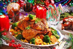 Roasted chicken with vegetables for christmas Royalty Free Stock Photography