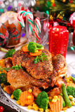 Roasted chicken with vegetables for christmas Royalty Free Stock Photos