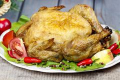 Roasted chicken with vegetables Royalty Free Stock Image