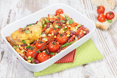 Roasted Chicken With Vegetables And Herbs Stock Image