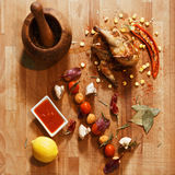 Roasted chicken with vegetables overhead Royalty Free Stock Photo