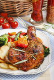 Roasted chicken with vegetables. Party dish Stock Images