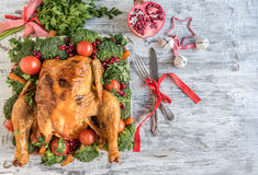 Roasted chicken with vegetables served. Roasted chicken with vegetables,Christmas concept Stock Images