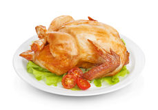 Roasted chicken on white Royalty Free Stock Image