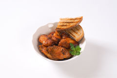Roasted chicken wings with bread Royalty Free Stock Photo