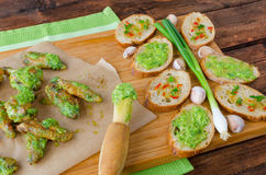 Roasted chicken wings with Chimichurri Stock Images